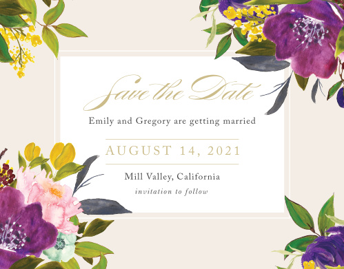 Make a spot on everyone's calendar with our Regal Arrangement Wedding Save the Date Cards.