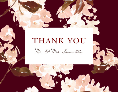 Thank all your supporters with our Autumn Aubergine Wedding Thank You Cards.
