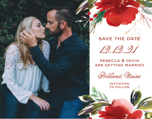 The focus of our breathtaking Christmas Pine Save-the-Date Magnets is, as it should be, the two of you. Your choice of photo adorns the lefthand side of the magne, complemented by all the details of your big day in swirling red typefaces. With a duo of red florals to border your text along the top and bottom, these magnets are as stunning as they are useful.