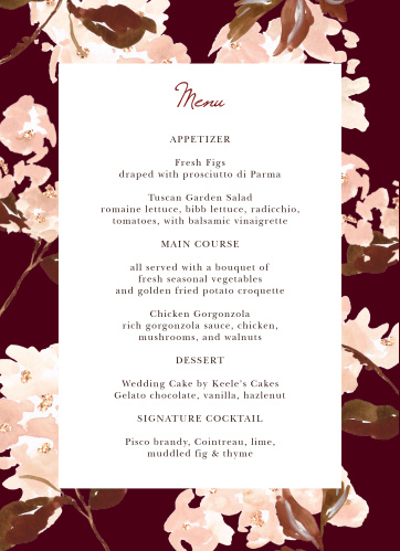 Treat your friends and family to a true fine dining experience with our Autumn Aubergine Wedding Menus.