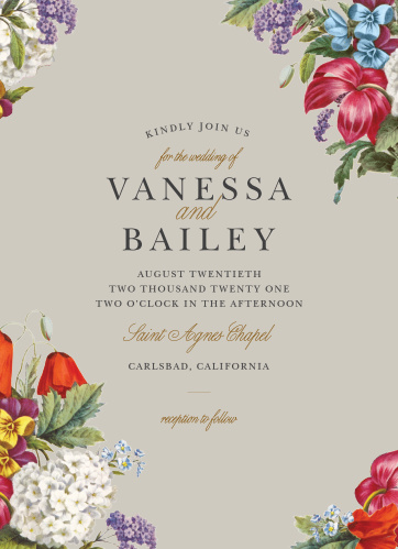 Enjoy the company of your friends and family when you use our Antique Flowers Wedding Invitations to invite them.