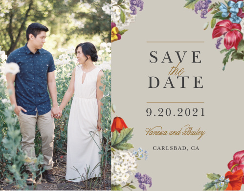 Make a spot on everyone's calendar with our Antique Flowers Wedding Save the Date Cards.