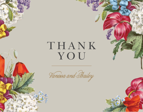 Thank all your supporters with our Antique Flowers Wedding Thank You Cards.