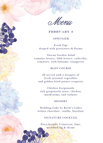Describe your guests' meal options in mouthwatering detail on our Pastel Watercolors Wedding Menus. A stunning bouquet of pastel flowers blooms from the lefthand side, growing steadily toward the calligraphy and print that spell out the details in the center.