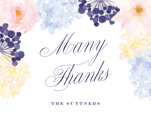 "Let your appreciation twirl into your guests' homes while it swirls across the flower-covered surface of our Pastel Watercolors Wedding Thank You Cards. With a stunning ensemble of colors and a classic duo of fonts to ensure that you catch their attention and keep it, these cards are a wonderful way to say ""thank you."""