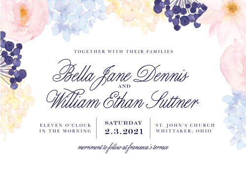 Grow your guest list with the beautiful botanicals of our Pastel Watercolors Wedding Invitations. Watercolor florals bloom all around your invitational text, itself written in a combination of stunning calligraphy and classic print, and offering an irresistible invitation to everyone you care about most.