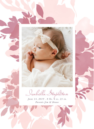 Our Blooming Watercolors Birth Announcements feature multiple layers of watercolor blooms that are colored in varying shades of pink.