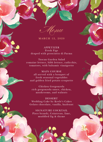 Treat your wedding guests to a true fine dining experience with our Maroon Bouquet Wedding Menus.