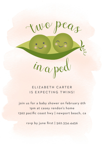 Share your excitement and celebrate the two to come with our Twin Peas Baby Shower Invitations.