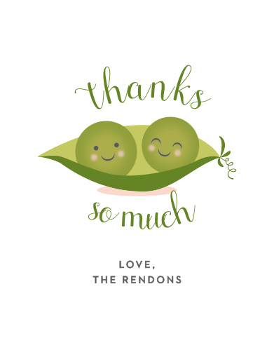 Thank your friends and family for their support with our Twin Peas Baby Shower Thank You Cards.