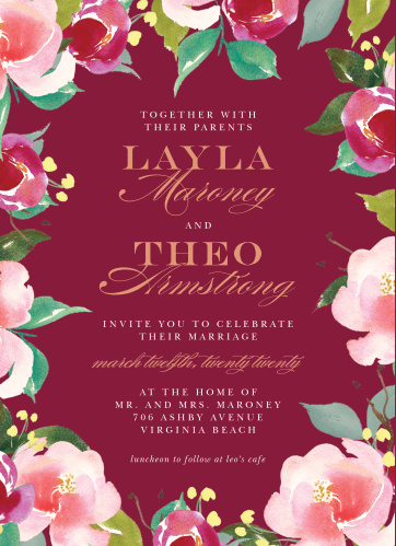 Enjoy the company of your friends and family on your big day when you use our Maroon Bouquet Wedding Invitations.
