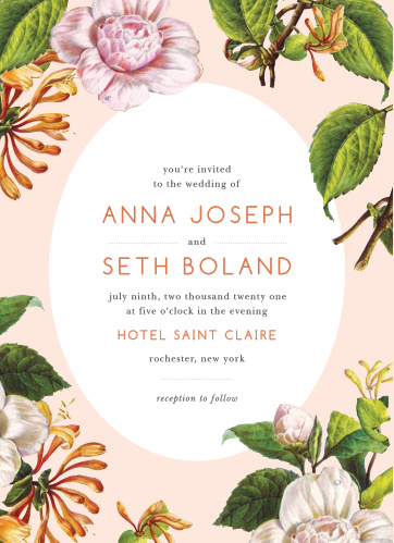Plant the seeds of our Spring Blush Wedding Invitations and watch your guest list grow as quickly as your love for your spouse-to-be. With a gorgeous ensemble of carefully painted flowers, neat prints in rose-gold foil and black ink, and an irresistibly classic design, these cards will shine bright in the light of your guests' homes.