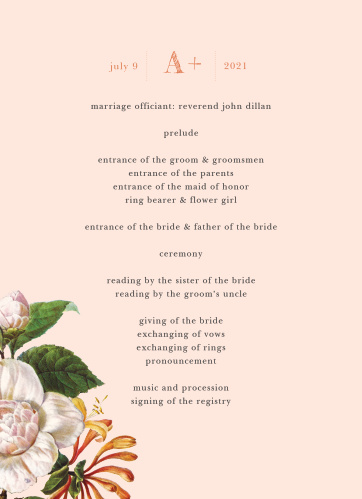 Our unforgettable Spring Blush Wedding Programs walk your guests through each moment of your ceremony as you take each step down the aisle.