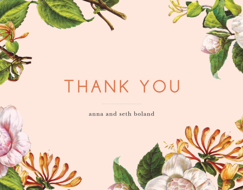 Express your gratitude with our gorgeous Spring Blush Wedding Thank You Cards. Featuring a stunning array of flowers in the style of an oil painting, neat prints, and light coral colors, these cards say everything you could ever need to.