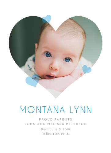 Our adorable Hearts of Love Birth Announcements are the perfect way to show off your newborn.