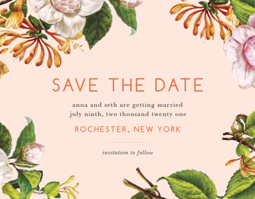 Give your guests the information they need to plan for your wedding well in advance using our Spring Blush Save-the-Date Cards. Beautiful floral illustrations fill the page's corners and sides, growing steadily in toward the neat prints spelling out your wedding day's details. With a color scheme focused on light, spring colors, these cards are as easy on the eyes as they are to read.