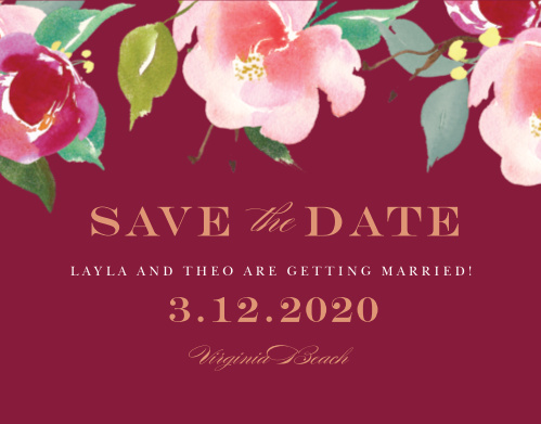 Make a place on your loved ones' calendars with our elegant Maroon Bouquet Save The Date Cards.