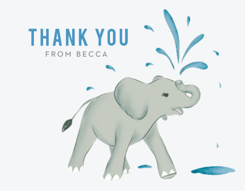 Our Elephant Showers Baby Shower Thank You Cards are charming and will show your appreciation to your guests in an adorable way.