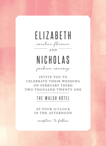 Our Modern Painting Wedding Invitations feature a ticket shaped backdrop, framed by a gorgeous blend of rose and cream hues.