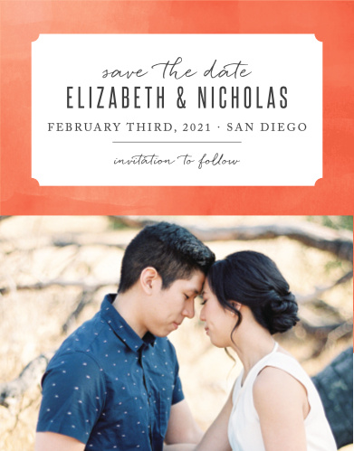Our Modern Painting Save-the-Date Magnets have a ticket shaped backdrop, where your names and wedding date are stated.