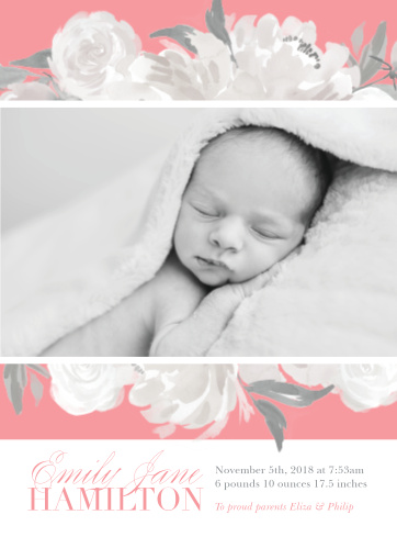 Elevate to elegance with our Light Flowers Birth Announcements.