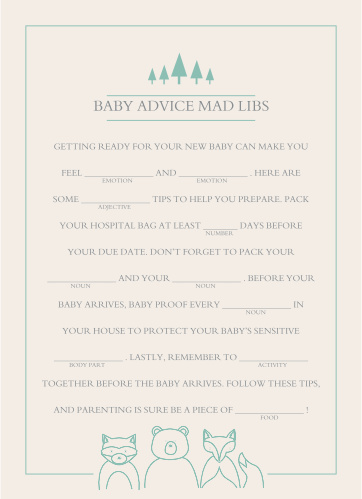 The Woodland Outline Baby Shower Mad Libs game is perfect for those wanting a minimum, but whimsical shower game.