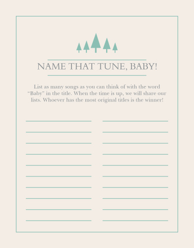 The Woodland Outline Baby Song Contest is perfect for those wanting a minimum, but whimsical shower game.