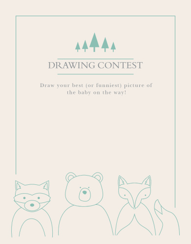 The Woodland Outline Baby Drawing Contest game is perfect for those wanting a minimum, but whimsical shower game.