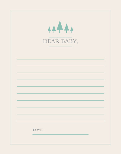 The Woodland Outline Letter to Baby is perfect for those wanting a minimum, but whimsical shower game.