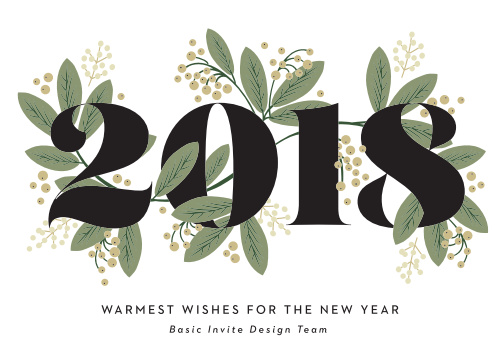 "Our Bold Year Corporate Holiday Cards feature a large ""2018"" that is interwoven with a festive vine."