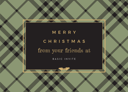 Give everyone the gift of holiday well-wishes with the style of our gift-wrapped Classic Plaid Corporate Holiday Cards. A duo of typefaces spell out your holiday cheer in gold-foiled calligraphy and white print, both shining bright againt the dark plaid background.
