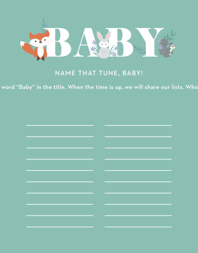 Our fun, light-hearted Friendly Forest Baby Song Contest is sure to be a hit at your baby shower.