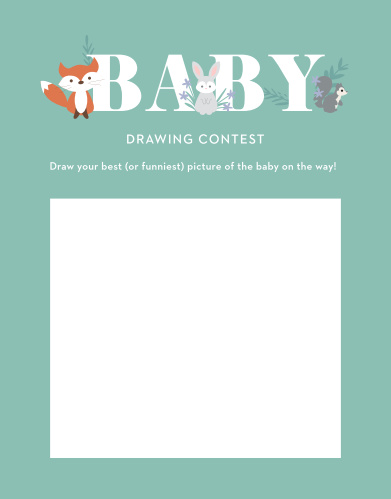 Our fun, light-hearted Friendly Forest Baby Drawing Contest gives your guests the opportunity to provide a snapshot of your newborn in hilarious or heartfelt sketches!