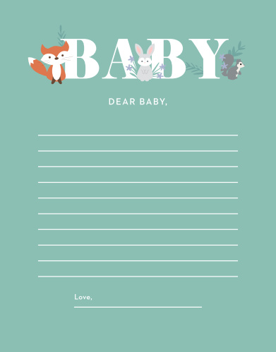 Our light-hearted Friendly Forest Letter to Baby gives your friends and family an opportunity to give your baby sweet sentiments and tender thoughts.