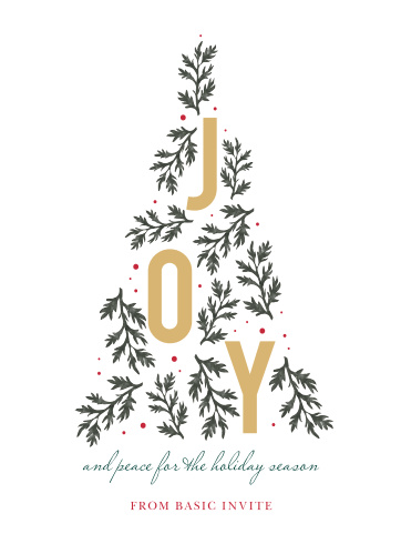 Watch employee morale and favor grow as quickly as our Tree of Joy Corporate Holiday Cards! Spell out your holiday well-wishes in a stunning green script, followed quickly by your signature in red print. With bright gold-foil filling the tree above with literal joy, these cards are a gorgeous way to make sure all of your employees know how appreciated they are.