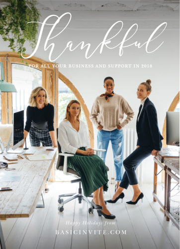 Our Thankful Thoughts Corporate Holiday Cards feature your photo, surrounded by a vignette and topped by swirling, white script for you to express your gratitude.