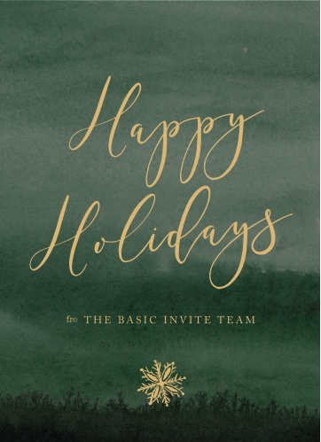 Our watercolor Green Night Corporate Holiday Cards have a rustic elegance that your employees will love.