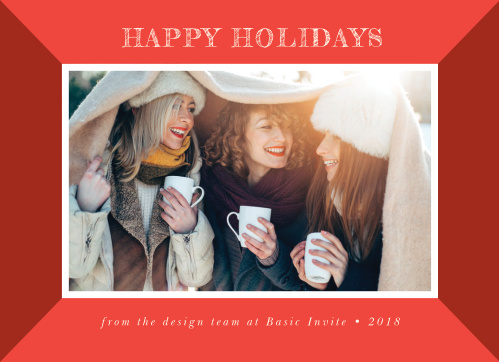 Our Happy Holidays Corporate Holiday Cards are designed to resemble a festive and cheerful photo frame.