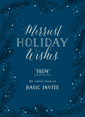 Our crisp Evergreen Branches Corporate Holiday Cards capture the idea of a winter wonderland beautifully.