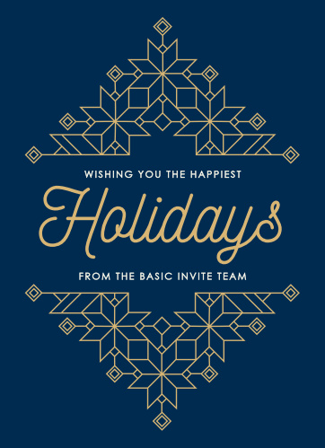 Our festive Geometric Deco Corporate Holiday Cards have a modern take on the retro style of the Roaring 20's.