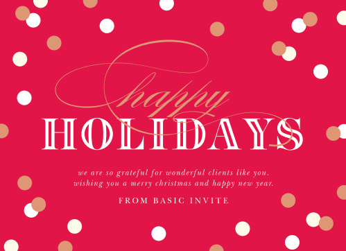 Send your employees some holiday spirit with our beautiful Foil Confetti Corporate Holiday Cards.