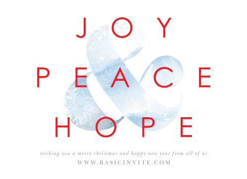Keep your holiday well-wishes as simple and stunning as our Ampersand Peace Corporate Holiday Cards.