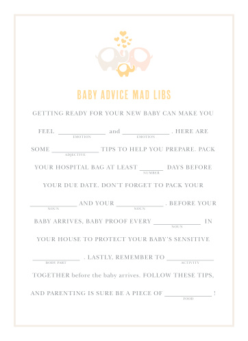 Delight your shower guests with our adorable Baby Elephant Baby Shower Mad Libs.