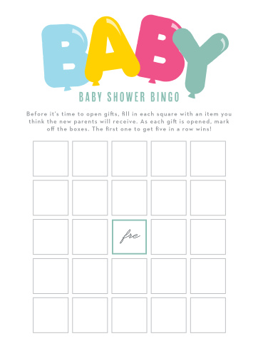 Get the party started with our Bubble Balloons Baby Shower Bingo.