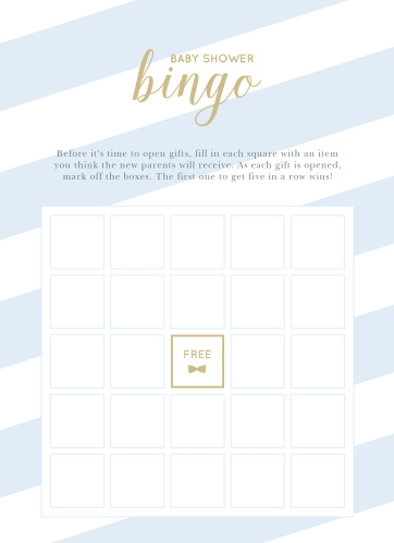 Our Stunning Stripes Baby Shower Bingo is a classic bingo board, decorated with stunning, blue and white stripes and a casual calligraphy.