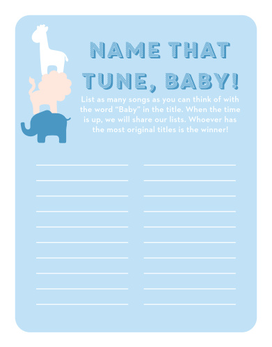 Scramble to think of the most original song titles with our simple, but hilarious, Safari Soiree Baby Song Contest.