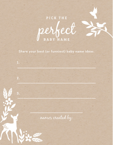 "Take notes from the crowd with our gorgeous Kraft Woodland Baby Name Contest, their suggestions becoming your new top ten or going straight into the ""never use"" pile."