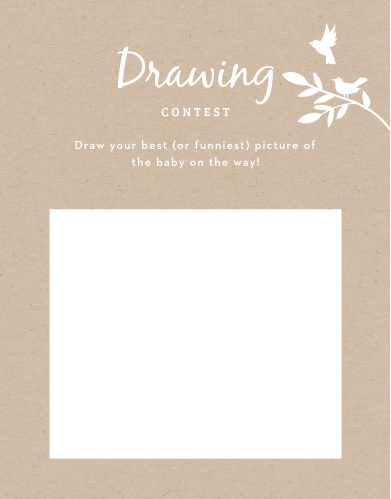 Give your guests the opportunity to provide a snapshot of your newborn in hilarious or heartfelt sketches with our Kraft Woodland Baby Drawing Contest!