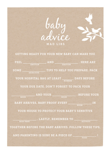 Have your friends and family fill in the blanks of our Kraft Woodland Baby Shower Mad Libs for a hilarious new take on baby preparations.