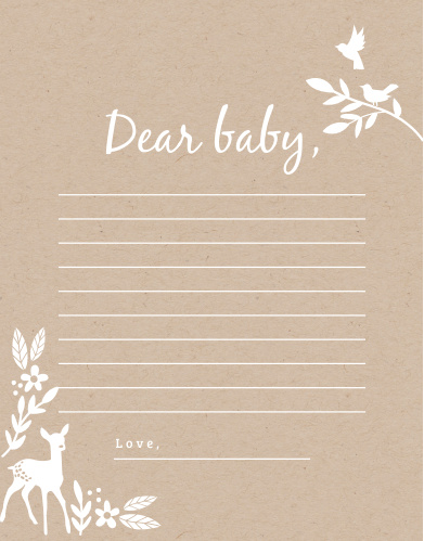 Collect the sweet sentiments and tender thoughts of your friends and family with our stunning Kraft Woodland Letter to Baby.
